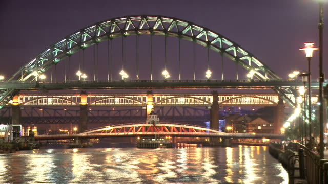 tyne bridges, illuminated, at night,  newcastle upon tyne - newcastle upon tyne stock videos and b-roll footage