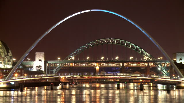 tyne bridges, illuminated, at night,  newcastle upon tyne - newcastle upon tyne stock videos and b-roll footage