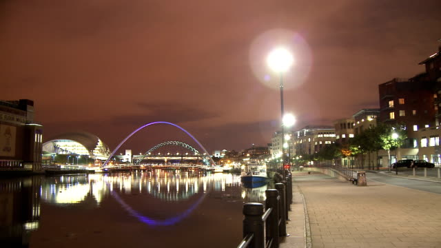 tyne briges in dusk, newcastle upon tyne - newcastle upon tyne stock videos and b-roll footage