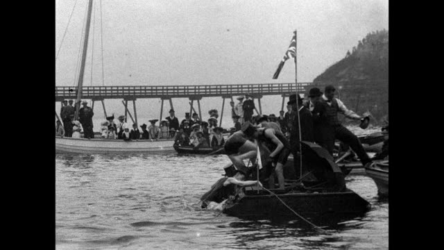1901 tynemouth swimming gala in the haven, north shields - edwardian style stock videos & royalty-free footage