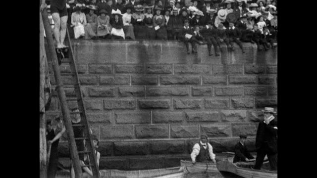 1901 tynemouth swimming gala in the haven, north shields - swimming costume stock videos and b-roll footage