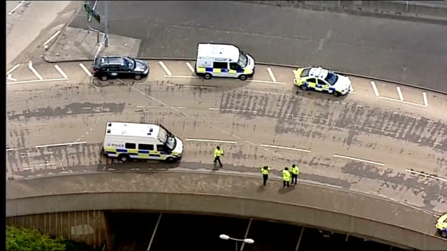 Air views of police vehicles in area where Raoul Moat believed to have shot policeman ENGLAND Tyne and Wear Newcastle East Denton VIEWs Police...