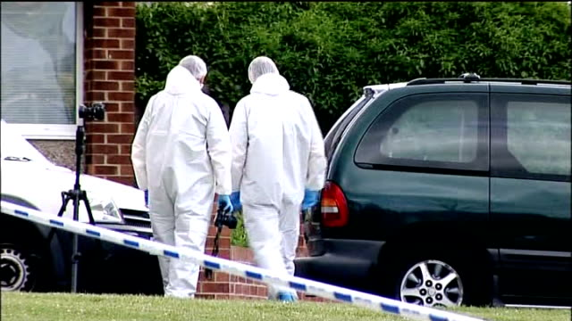 stockvideo's en b-roll-footage met police manhunt for gunman after triple shooting; county durham: birtley: shotgun hole in broken window of house where stobbart lived with her new... - county durham engeland