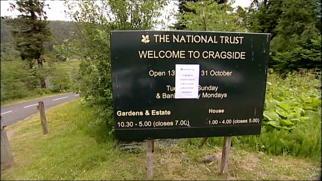 rothbury police activity; general views of cragside house with national trust 'closed' sign in foreground/ cragside house national trust sign and... - national trust video stock e b–roll