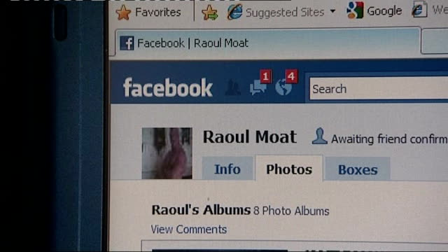 suspect raoul moat still on the run raoul moat's facebook page seen on computer screen - page stock-videos und b-roll-filmmaterial