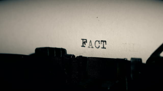 type bars of old typewriter printing out word fact - transparent stock videos & royalty-free footage