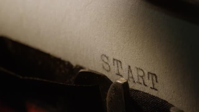 ld type bars of old typewriter printing out word start - typewriter stock videos & royalty-free footage