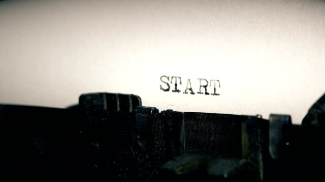 type bars of old typewriter printing out word start - concepts stock videos & royalty-free footage