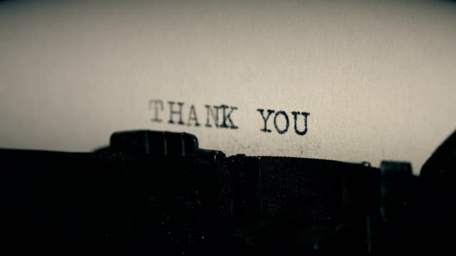 type bars of old typewriter printing out word thank you - thank you phrase stock videos and b-roll footage