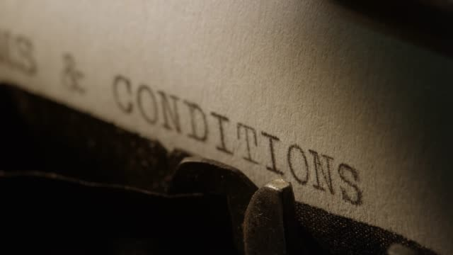 LD Type bars of old typewriter printing TERMS AND CONDITIONS