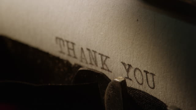 ld type bars of old typewriter printing words thank you - thank you stock videos and b-roll footage