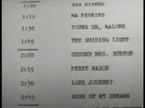 typed program names scrolling upward most 15 minutes long. 'the guiding light' 'perry mason' 'ma perkins' many more. - soap opera stock videos & royalty-free footage