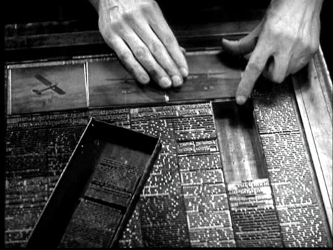 b/w montage 1937 typesetter's hands inserting text and newspaper plate - 1937 stock-videos und b-roll-filmmaterial