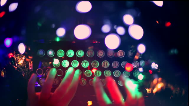typewriter, hands, blinking lights, christmas lights, writing, letter to santa claus - telegram stock videos and b-roll footage