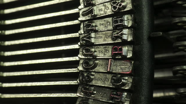 typewriter track down over type keys close up. - capital letter stock videos & royalty-free footage