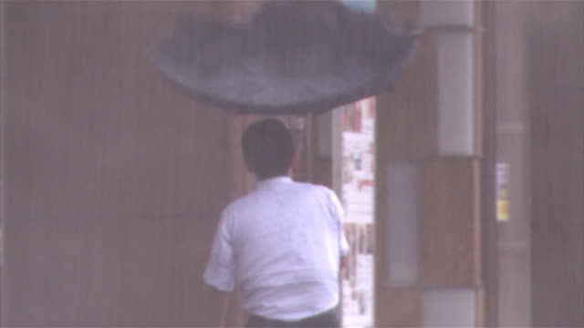 Typhoon Goni A man walking under the heavy rain Tilt up Strong wind blowing his umbrella inside out