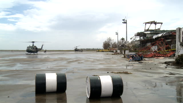 Typhoon Haiyan Military Helicopter At Devastated Tacloban Airport