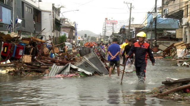 typhoon haiyan storm surge destruction in tacloban city - philippines stock videos & royalty-free footage