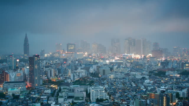 T/L WS HA Typhoon passing over Shinjuku, dusk to night transition, Tokyo, Japan