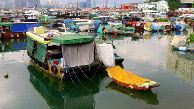 typhoon shelter, hong kong - sampan stock videos & royalty-free footage
