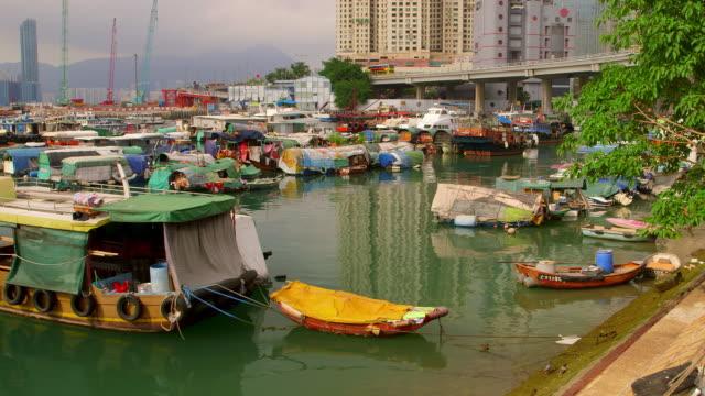 typhoon shelter, hong kong - moored stock videos & royalty-free footage