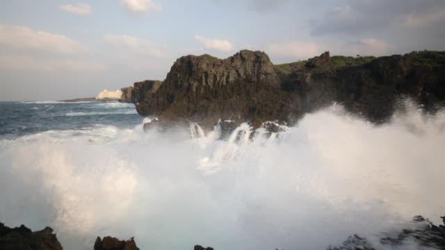 typhoon waves smashing okinawa part 1 - pacific islands stock videos & royalty-free footage