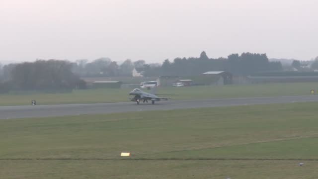 raf typhoons take off from the raf coningsby during exercise point blank 183 a recurring large force exercise designed and cohosted by the royal air... - fighter stock videos & royalty-free footage
