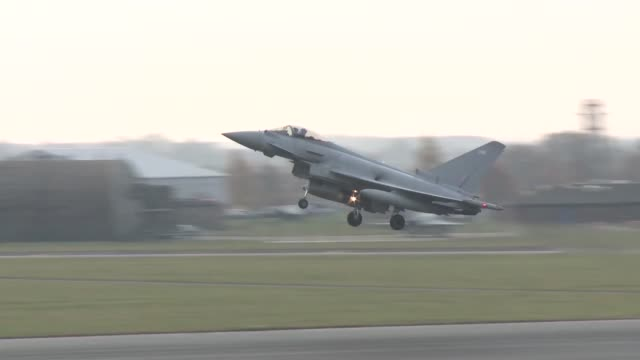 RAF Typhoons take off from the RAF Coningsby during Exercise Point Blank 183 a recurring large force exercise designed and cohosted by the Royal Air...