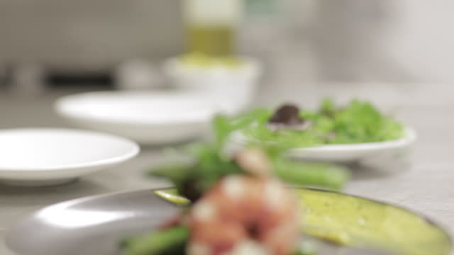 typical french luxurious gastronomy, lobster and shrimp with asparagus. chef service. - french food stock videos & royalty-free footage