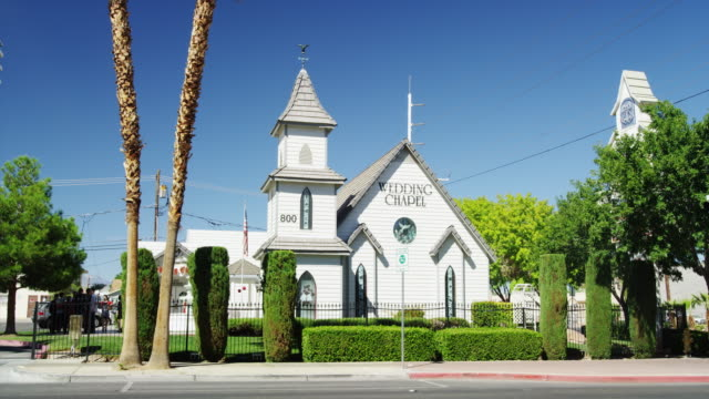 typical las vegas wedding chapel exterior in downtown - chapel stock videos & royalty-free footage