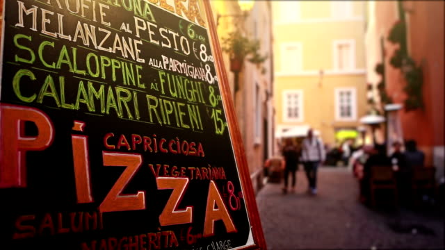 typical tourists restaurant menu in the street of rome - rome italy stock videos and b-roll footage