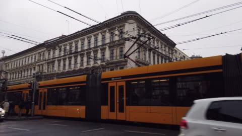 typical yellow tram in budapest - budapest stock videos & royalty-free footage