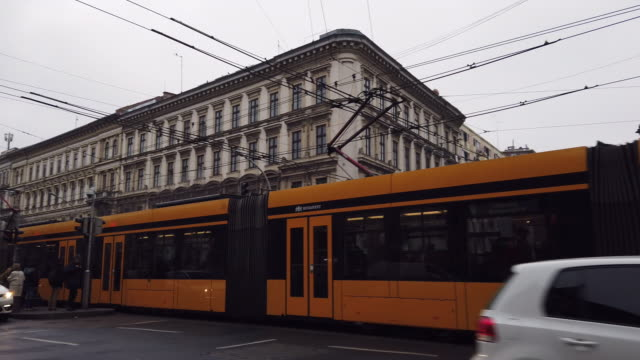 typical yellow tram in budapest - cable car stock videos & royalty-free footage