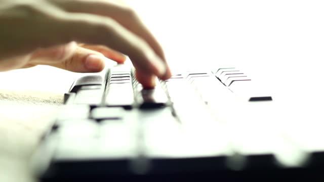 Typing fingers push Keyboard