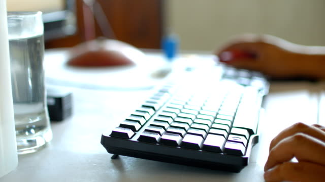 typing on pc keyboard with natural sunlight - back lit stock videos & royalty-free footage