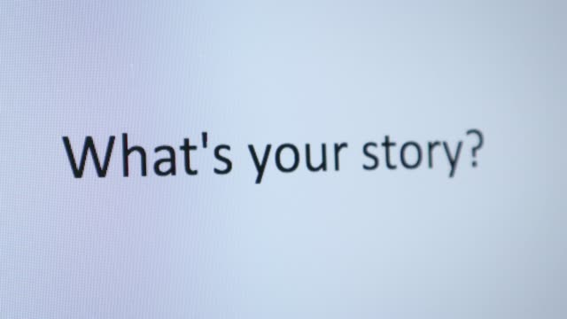 "typing ""what's your story"" on the computer - storytelling stock videos & royalty-free footage"
