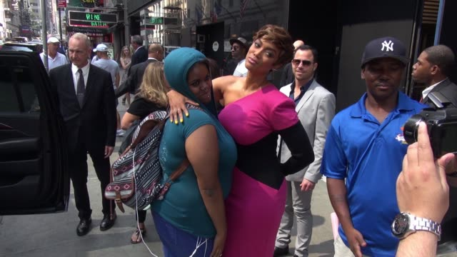 tyra banks at 'good morning america' poses with fan on september 08 2015 in new york city - good morning america stock videos and b-roll footage