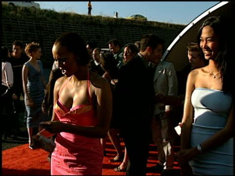 Tyra Banks at the 1998 MTV Movie Awards entrances at Barker Hanger in Santa Monica California on May 30 1998