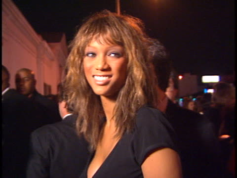 vídeos de stock, filmes e b-roll de tyra banks at the polygram grammy party at chasens - 1996