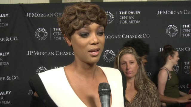 vídeos de stock, filmes e b-roll de interview tyra banks on being at the event tonight and diversity in tv at the paley center for media's tribute to africanamerican achievements in... - tyra banks