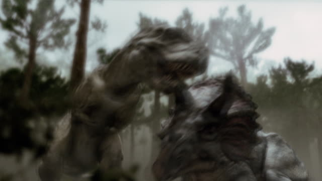 A Tyrannosaurus Rex and Triceratops tangle in a forest.