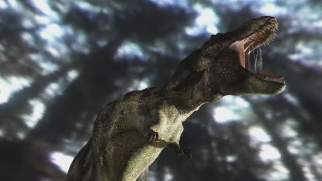 ms cu tyrannosaurus rex dinosaur attacking / oxford, oxfordshire, united kingdom - tyrannosaurus rex stock videos and b-roll footage