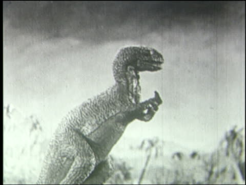 B/W PROFILE tyrannosaurus rex eating with hands