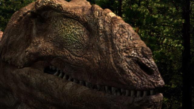 CGI, CU, Tyrannosaurus rex roaring, headshot