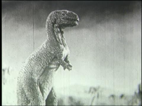 b/w profile tyrannosaurus rex roaring - dinosaur stock videos and b-roll footage