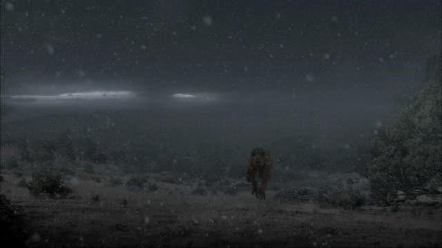 vídeos de stock, filmes e b-roll de cgi, ms, tyrannosaurus rex running in falling volcanic ash - jurássico