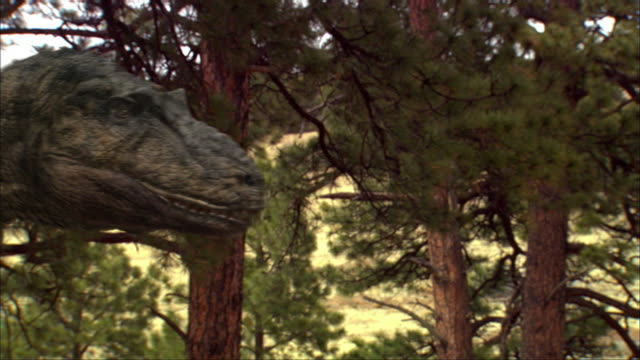 CGI, CU, Tyrannosaurus rex walking in front of camera