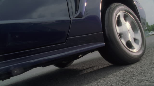 CU Tyre of car spinning and emitting smoke