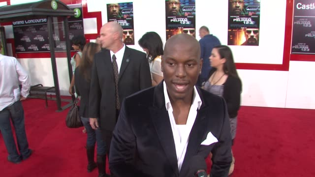 tyrese gibson on being there to support denzel washington at the 'the taking of pelham 1 2 3' premiere at westwood los angeles ca - pelham 1 2 3: ostaggi in metropolitana video stock e b–roll