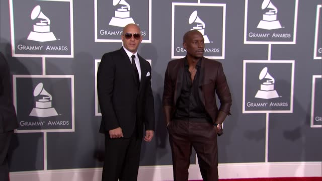 tyrese gibson vin diesel at the 55th annual grammy awards arrivals 2/10/2013 in los angeles ca - vin diesel stock videos and b-roll footage